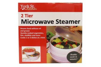 Microwave Steamer 2 Tier Double Layer for Cooking Meals Vegetables Kitchen