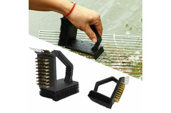 Barbecue Brush 3 in 1 Grill Cleaner BBQ Tools Brass Bristles Scraper Scourer