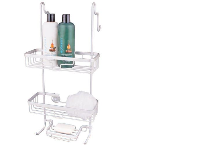 Aluminum Shower Caddy Over The Door Bathroom Rack Shelf Tier Storage Rust Proof