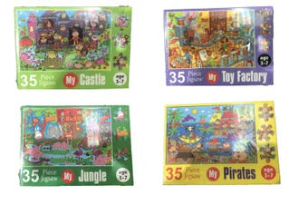 4x Jigsaw Puzzle Kids Children Arts Castle Factory Jungle Pirates 35 pieces Each