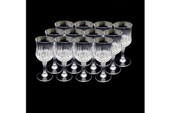Set of 12 Wine Clear Plastic Reusable Drink Glass Party Elegant 210ml