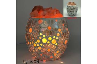 White Flower Glass Mosaic Vase Bowl HIMALAYAN CRYSTAL SALT LAMP Natural Rock