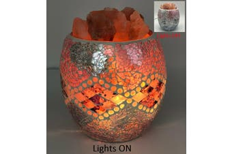Pink Aztec Glass Mosaic Vase Bowl HIMALAYAN CRYSTAL SALT LAMP Natural Rock