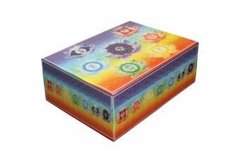 7 Chakra Meditation Wooden BOX Printed Esential Oil Jewellery Crystal Box 12x17