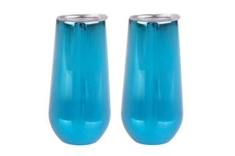 Oasis 180ml Double Insulated Stemless Champagne Wine Tumbler w/ Lids 2 Pack - Mirror Sapphire