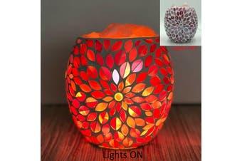 Pink Flower Glass Mosaic Vase Bowl HIMALAYAN CRYSTAL SALT LAMP Natural Rock
