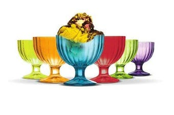 Alaska set of 6 Glass Ice Cream Rainbow Bowl Dessert Coloured Cup 270ML
