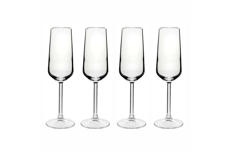 Allegra Flute 195ml Set of 4 Glasses Champagne Bubbly Flutes Wine Drink Glass