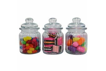 3x Glass Apothecary Candy Lolly Buffet Jar Candle Waxing, Wedding & Party 300ml