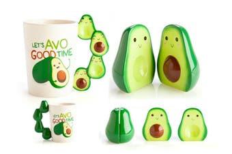 Adorable Novelty Cute Avocado AVO Lovers Salt & Pepper Shakers Coffee Mug Set