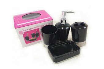 4PC Bathroom Set Soap Pump, Soap Dish Toothbrush Holder Tumbler Dish  - Black