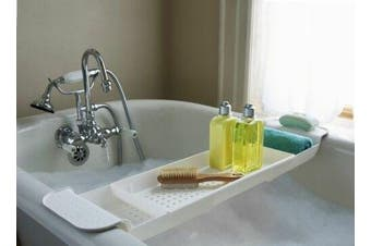 Bathroom Bath Caddy Expandable Holder Tray Over Bath Tub Shelf Support Plastic