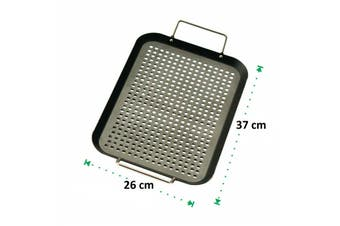 Non-stick BBQ Grill Tray Barbecue Camping Perforated Meat Vegetables 37 x 26 cm