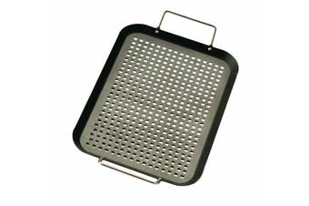 Non-stick BBQ Grill Tray Barbecue Camping Perforated Meat Vegetables Topper Tray