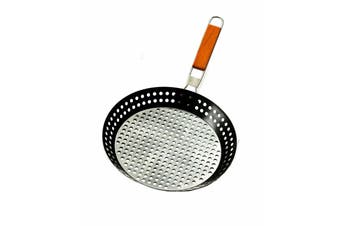 Non-stick 30cm BBQ Fry Pan Barbecue Camping Frying Foldable Handle Perforated
