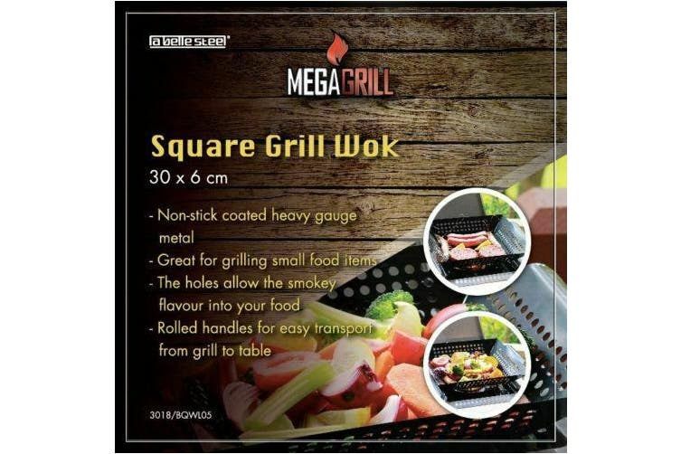 Non-stick BBQ Grill Wok Barbecue Perforated Square 30cm Beer Can Chicken Roaster