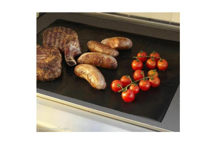 2x BBQ COOKING SHEET NONSTICK TEFLON 38x50cm ALL PURPOSE HOTPLATE LINER