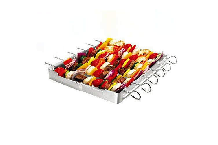 Barbecue Kebab Skewer Foldable Grill Rack Flat Pointed BBQ Stainless Steel Set