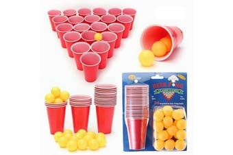 Beer Pong Drinking Game Set Kit 24 Cups 24 Balls Xmas Party Pub BBQ Gift