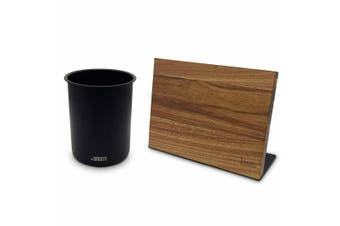 Bialetti St Clare Magnetic Acacia Wood Knife Block Black Utensil Holder Set