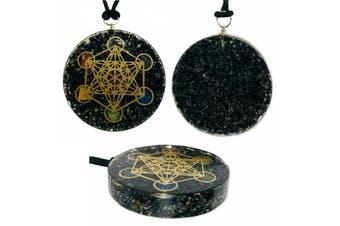 Black Tourmaline Orgonite Pendant Orgone Metatron Cube Sacred Geometry