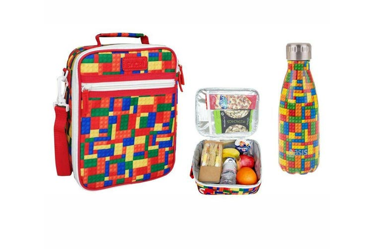 SACHI Insulated Lunch Tote Bag with OASIS Drink Bottle 350ml Carry School BRICKS