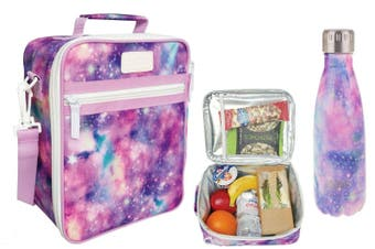 SACHI Insulated Lunch Tote Bag with OASIS Drink Bottle 350ml Carry School GALAXY