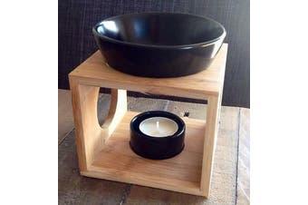 Essential Oil Burner Black Ceramic Wax Melt Warmer Fragrance