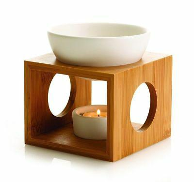 Oil Burner Wood Stand White Ceramic Bowl Aromatherapy Oils and Wax Melts
