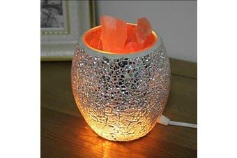 Silver Chip Bowl HIMALAYAN CRYSTAL SALT LAMP Natural Crystal Rock 1.5KG