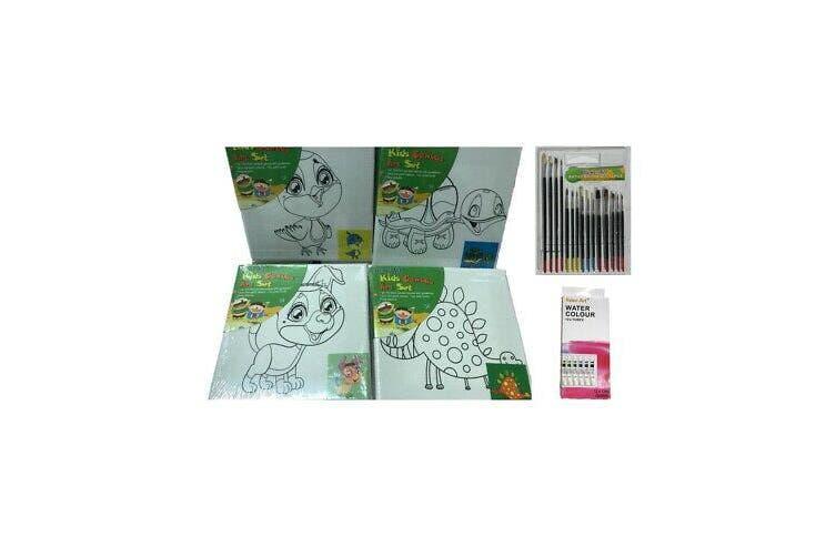 4 Kids Artist Canvas Printed 15 x 15cm Bulk Watercolour Tubes 15 pcs Brush Set