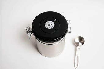 Coffee Canister Airthight Vacuum Sealed Storage Date Tracker CO2 Valve Medium