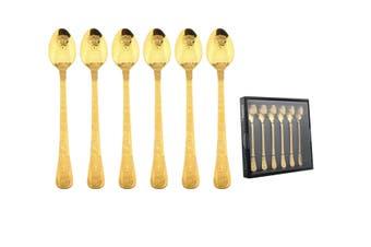 Gold Engraved Cutlery Set 6pcs Latte Parfait Sundae Spoon Stainless Steel