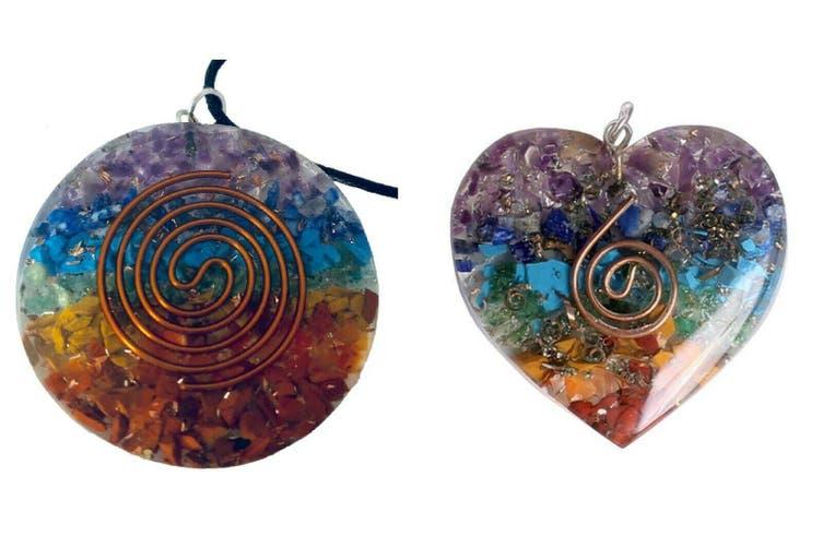 2 Pieces Pendant 7 Chakra Layered Orgone Gemstone Orgonite Reiki Spiritual