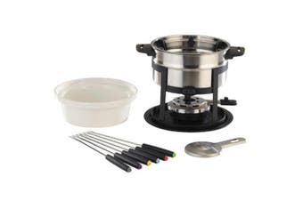 Classic Stainless Steel Fondue 12 Piece Set For Cheese Chocolate Dipping
