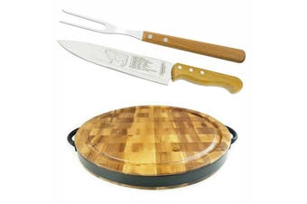 "Large Round Wooden Chopping Board Acacia Carving Set 8"" Meat Knife Carving Fork"
