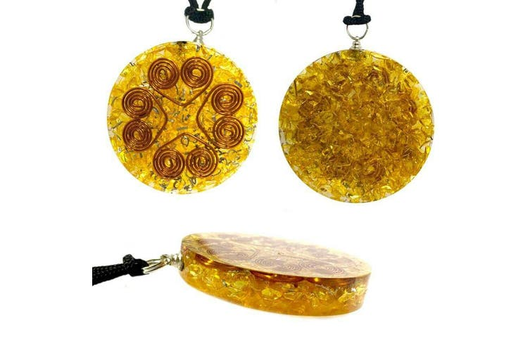 Orgonite Pendant Citrine Heart Cooper Coil Prosperity Gemstone Disc Reiki Energy