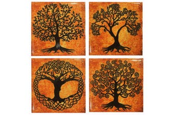 Tree of Life Coaster Set Ceramic Drink Coasters Meditation Healing Reik 4pc