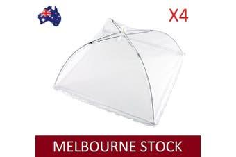 NEW 4pcs White Pop-Up Mesh Screen Food Cover Umbrella Tents 40cm