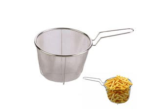 Deep Fry Stainless Steel Mesh Basket Strainer Handle Chips Fries Round 18cm