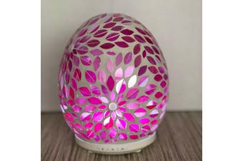 Pink Flower Glass Mosaic Aroma Electric Diffuser Essential Oils Aromatherapy