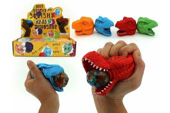 4 x Ick Sticky Squishy Water Orbs Squeeze Me Dinosaur T-Rex Head Assorted
