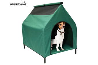 Elevated Pet Dog Kennel Weather Flea Mite Resistant Outdoor Indoor House Green