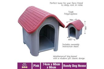 Pet Dog Kennel Weatherproof Plastic Outdoor Indoor Puppy Garden House Medium AU