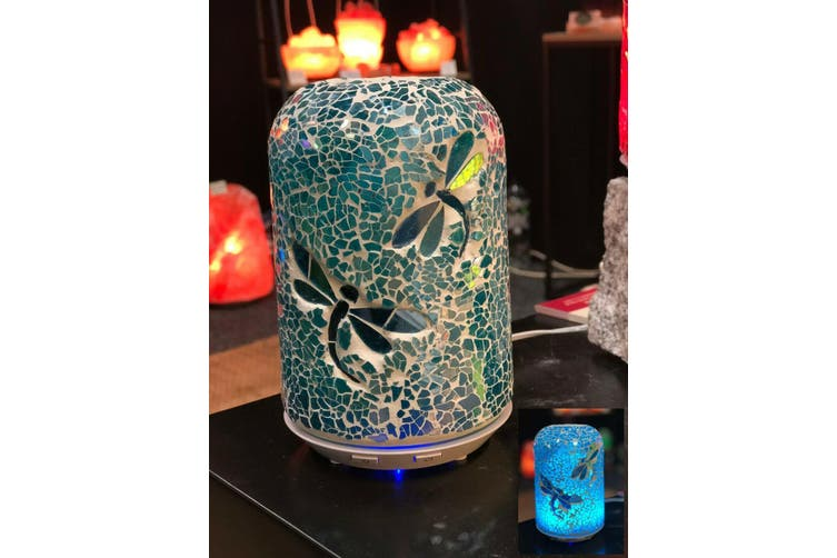 Dragonfly Glass Mosaic Electric Essential Oil Diffuser Therapy Aromatherapy