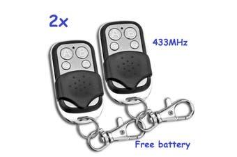 2x Universal Garage Door Gate Car Remote Control 433mhz Key Ring Fob Clone