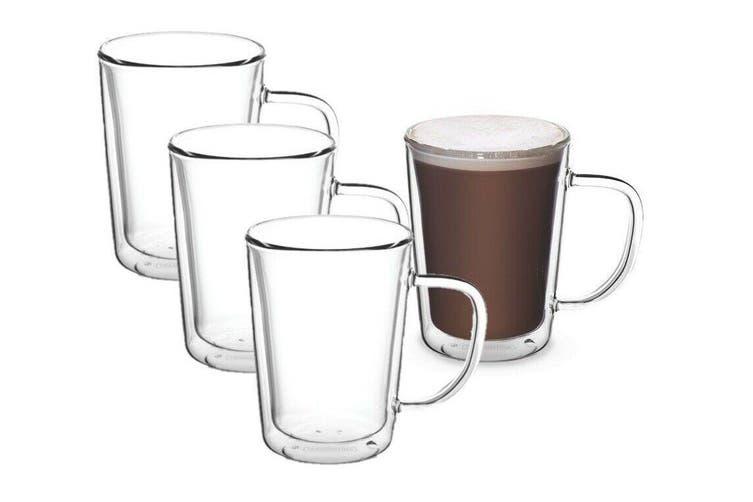 4x Tramontina Double Wall Glass Coffee Mug Hot Cold Drink Latte Tea 250ml
