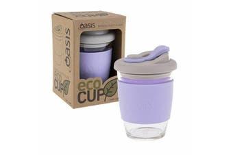 Oasis Coffee Tea Borosilicate Glass Takeway Eco Friendly Reusable 340ml Lilac