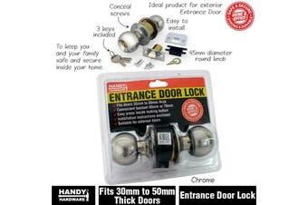 Front Entrance Door Lock Entrance Set Round Knob Lockset Chrome w/ 3 Keys