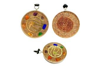 Pendant Eye of Horus 7 Chakra Layered Orgone Gemstone Orgonite Reiki Lace Cord